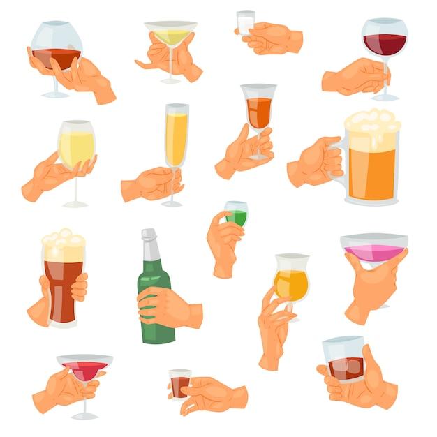 Bebida na mão, bebendo tequila cocktail alcoólico martini ou cerveja não alcoólica na ilustração de caneca Vetor Premium