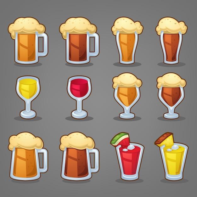 Bebidas de desenho animado, ícones brilhantes e objetos para seu aplicativo ou menu Vetor Premium