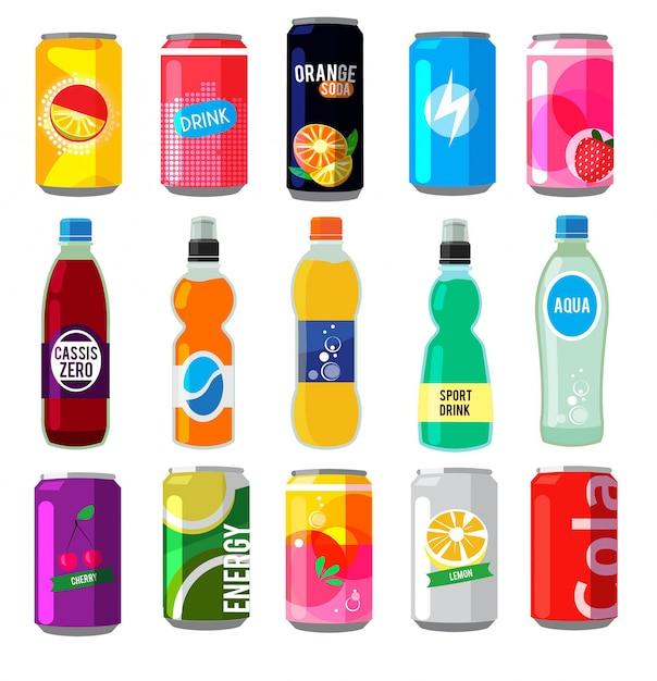 Bebidas efervescentes em garrafas de vidro. Vetor Premium