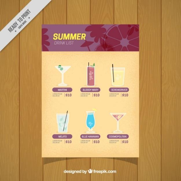 Bebidas elegantes de verão Vetor grátis