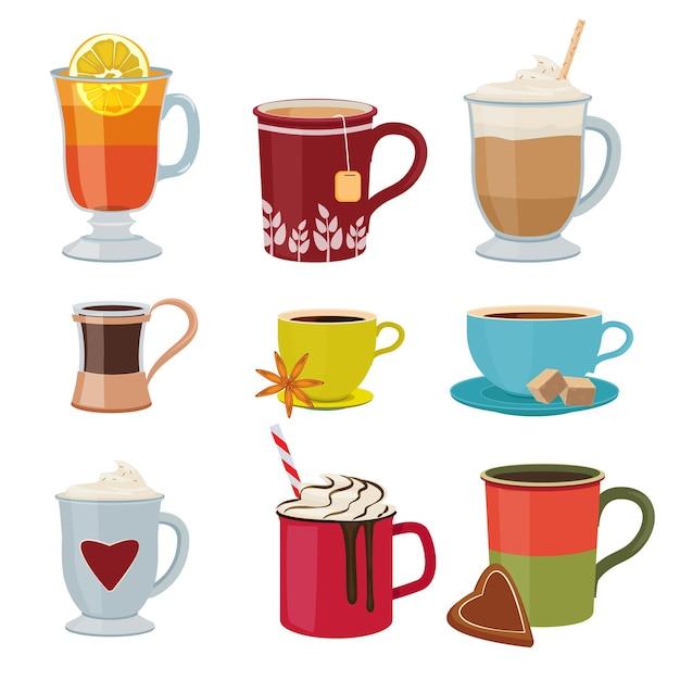 Bebidas quentes. quente canecas chá café cacau quente com vinho coleção de fotos de desenhos animados. Vetor Premium