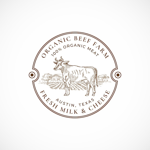 Beef and milk farm emoldurado retro badge ou logo template. Vetor grátis