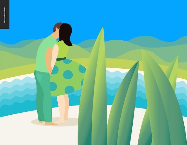Beijando a cena - ilustração em vetor plana dos desenhos animados do jovem casal, namorado e namorada, beijando na praia, cena romântica Vetor Premium