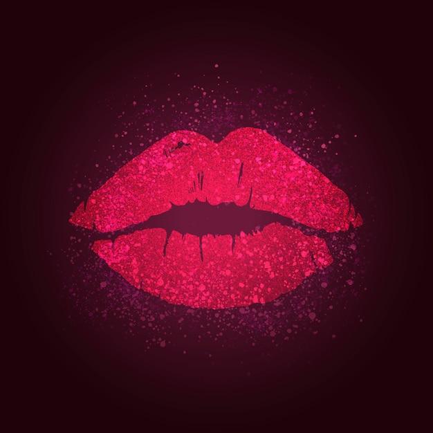 Beijando o emblema dos lábios Vetor grátis