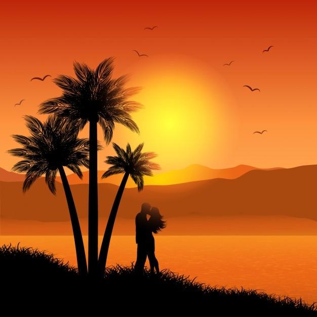 Beijando pares em paisagem tropical Vetor grátis