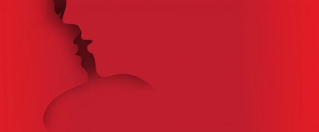 Beijar casal papel arte 3d camada pop-up de fundo com espaço para texto Vetor Premium