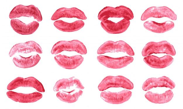 Beijo de batom imprimir conjunto isolado Vetor Premium