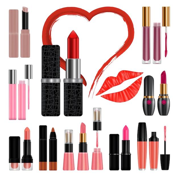 Beijo de conjunto de maquete de batom. ilustração realista de 11 maquetes de batom para web Vetor Premium