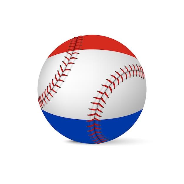 Beisebol com bandeira da holanda, isolada no fundo branco. Vetor Premium