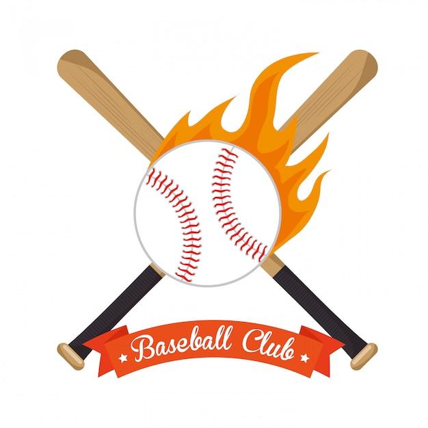 Beisebol de ilustração cruzada bastões e estrelas de bola Vetor grátis