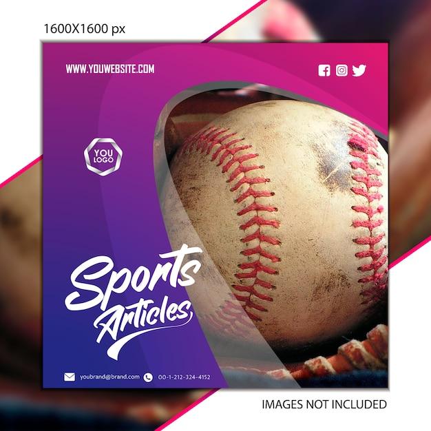 Beisebol de publicação de esportes para rede social Vetor Premium