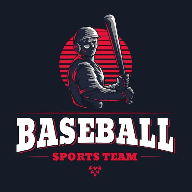 Beisebol esportes equipe emblema do clube gravado vintage retrô Vetor Premium