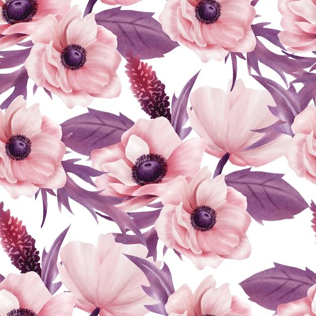 Bela aquarela floral rosa padrão sem emenda Vetor Premium