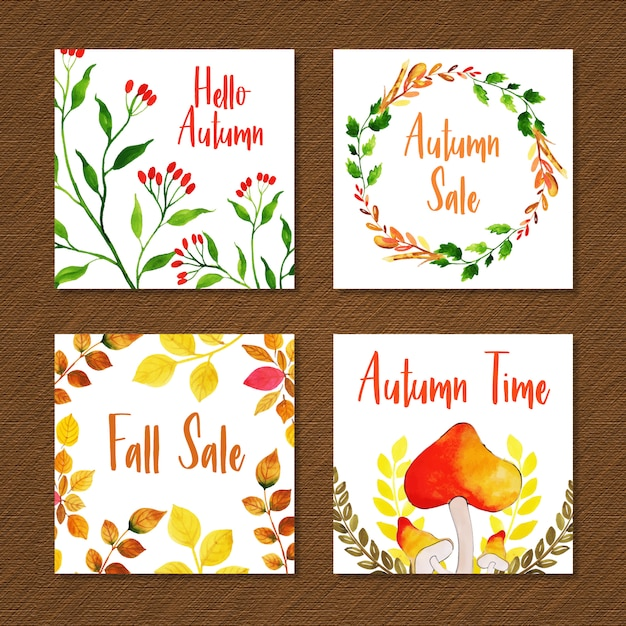 Bela aquarela outono coleção de cartões Vetor grátis