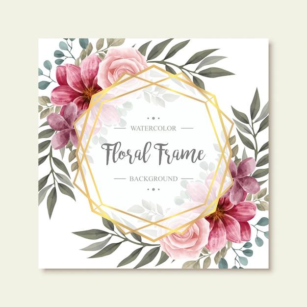 Bela aquarela vintage floral flores moldura dourada fundo Vetor Premium