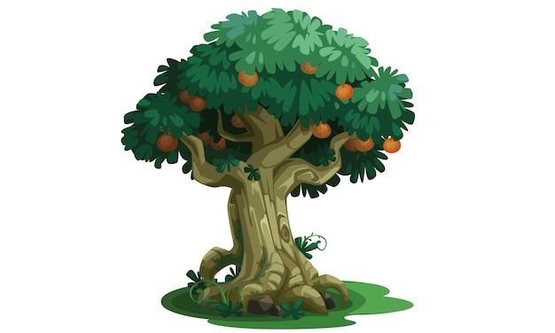 Bela árvore com arte do conceito de frutas Vetor Premium