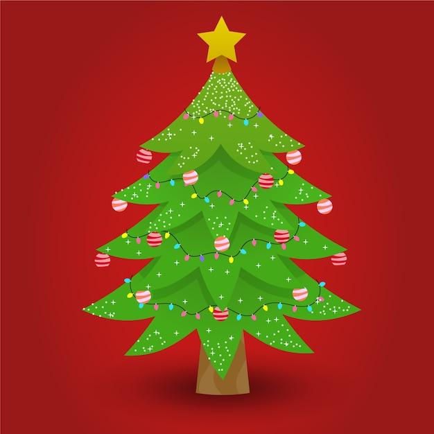 Bela árvore de natal 2d Vetor grátis