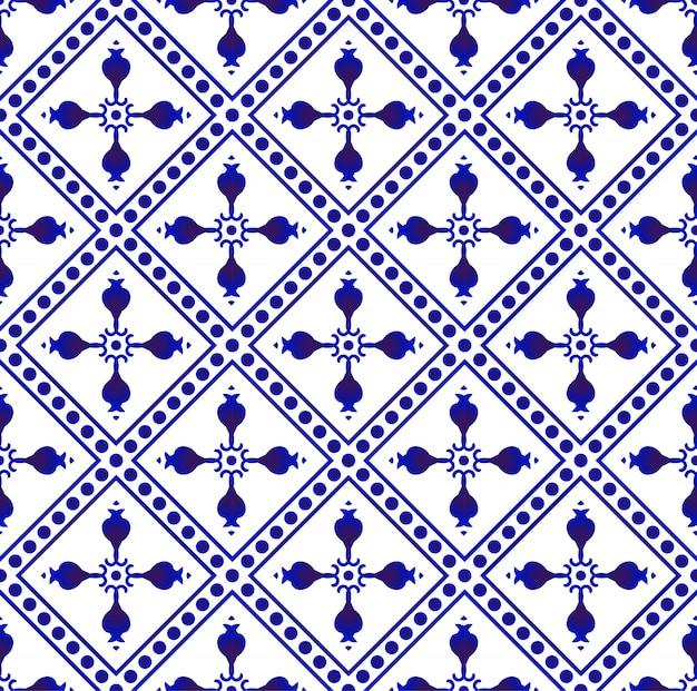 Bela batik padrões malásia e índia estilo, porcelana índigo sem costura padrão Vetor Premium