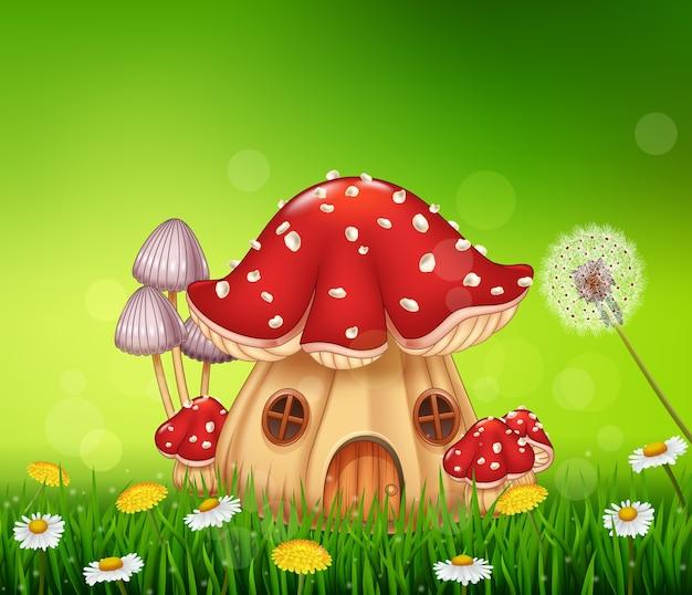 Bela casa de cogumelos Vetor Premium