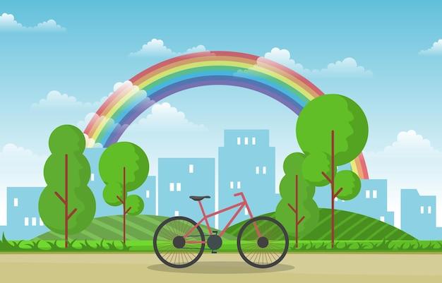 Bela cidade arco-íris verão paisagem urbana ilustração Vetor Premium