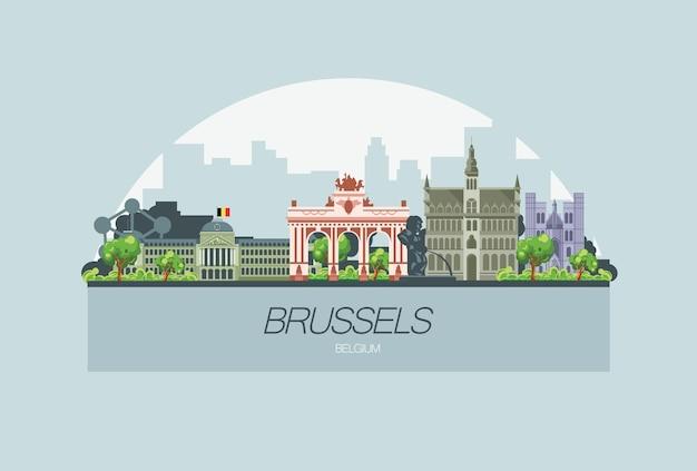 Bela cidade do horizonte de bruxelas na europa Vetor Premium