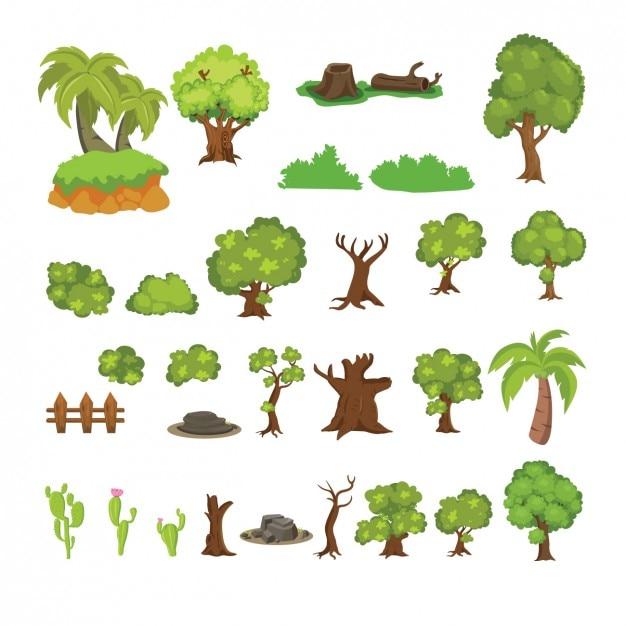 Bela coleção de cactos e árvores Vetor grátis