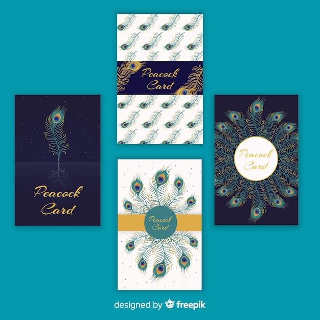 Bela coleção de cartão de pavão Vetor grátis