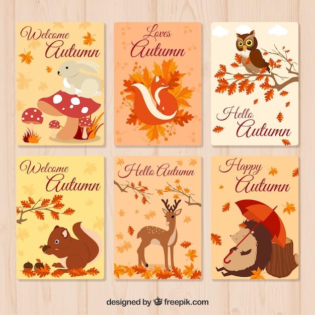 Bela coleção de cartões de outono Vetor grátis