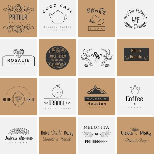 Bela coleção de logotipo para fotografia, decoração e planejador Vetor Premium