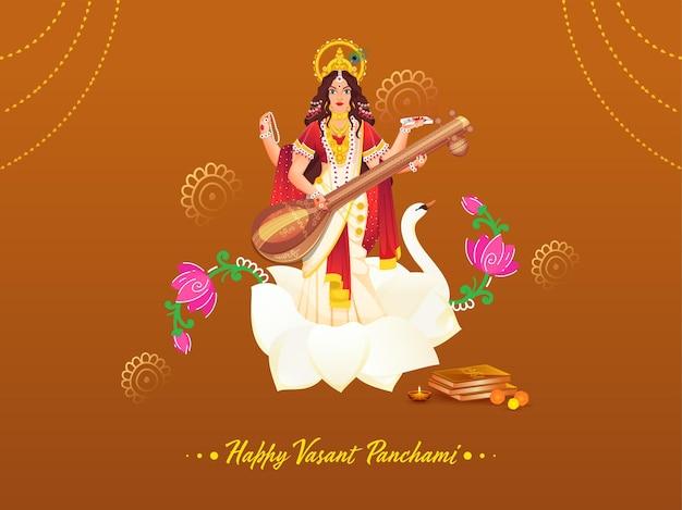 Bela deusa saraswati escultura com livros sagrados, flores e lâmpada de óleo acesa (diya) para feliz vasant panchami. Vetor Premium