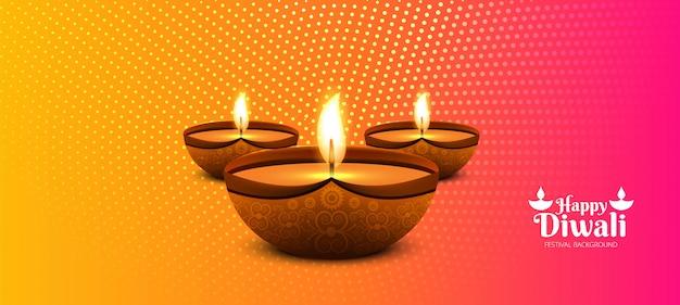 Bela diwali diya óleo lâmpada festival cabeçalho fundo Vetor grátis