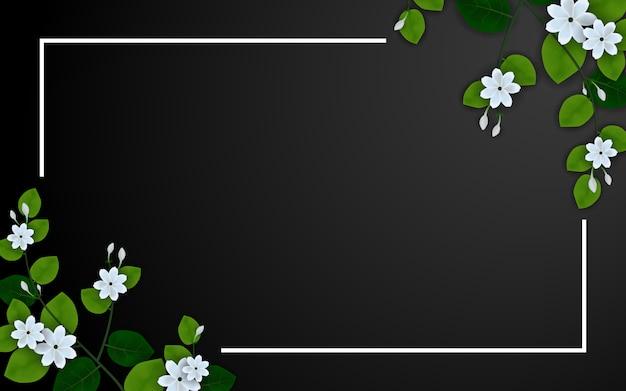 Bela flor de jasmim em preto Vetor Premium