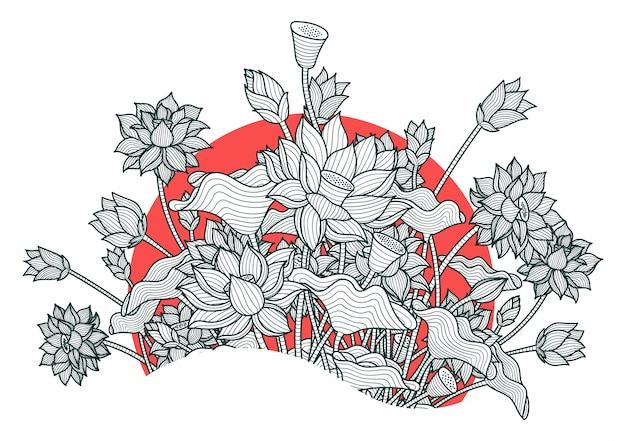 Bela flor de lótus Vetor Premium