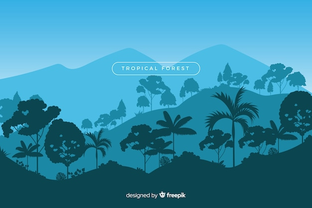 Bela floresta tropical paisagem com variedade de árvores Vetor grátis