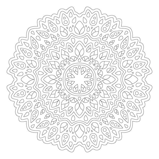 Bela ilustração de mandala para livro de colorir Vetor Premium