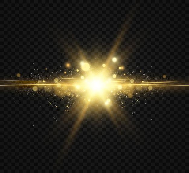 Bela ilustração dourada de uma estrela em um fundo translúcido com pó de ouro e brilhos Vetor Premium