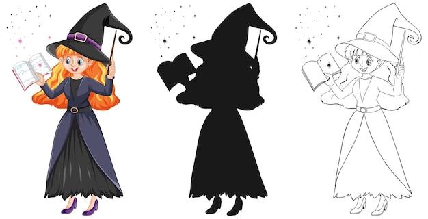 Bela jovem bruxa segurando a varinha mágica e um livro em cores e contornos e silhueta isolada Vetor grátis