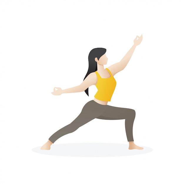 Bela jovem em pose de ioga Vetor Premium