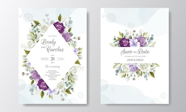 Bela mão desenhada cartão de convite de casamento floral Vetor Premium