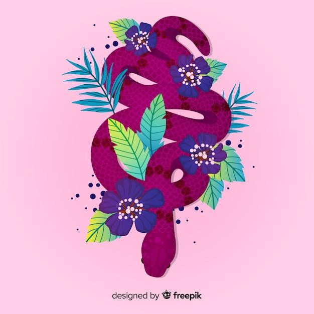 Bela mão desenhada cobra com flores Vetor grátis