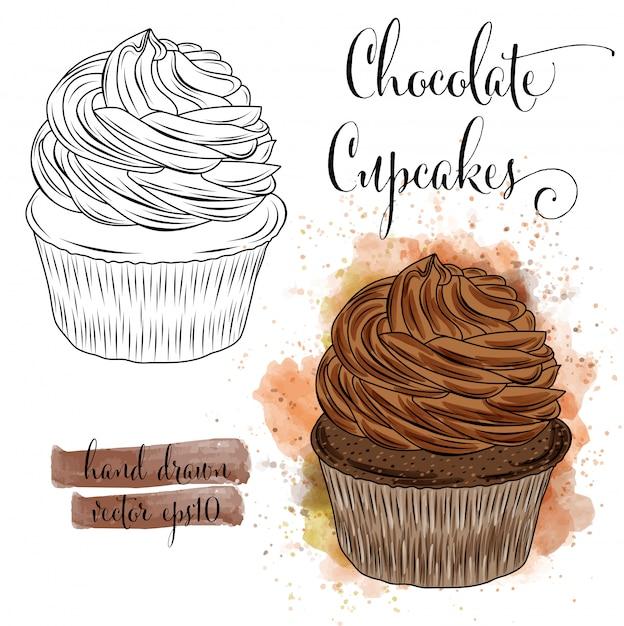 Bela mão desenhada em aquarela cupcakes com chocolate Vetor Premium