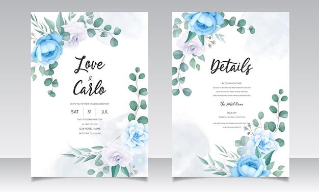 Bela mão desenhando convite de casamento design floral azul Vetor grátis
