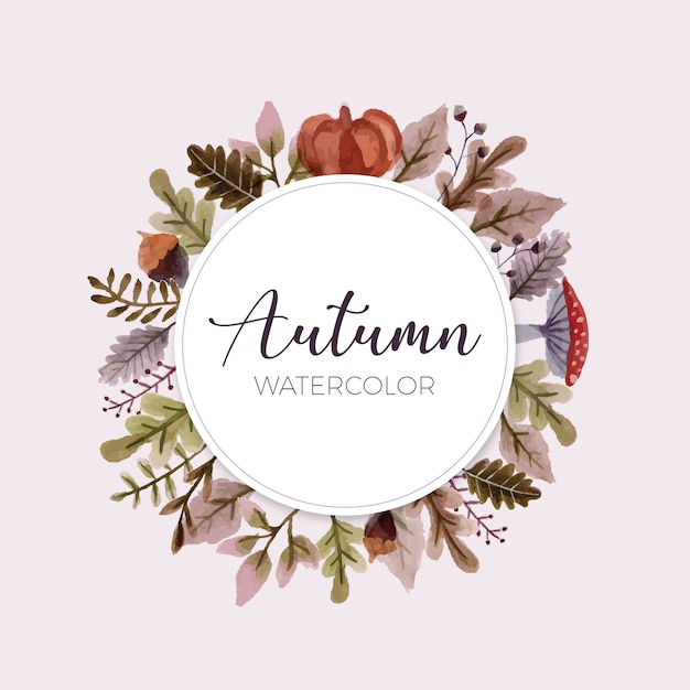 Bela moldura com folhas de outono Vetor grátis