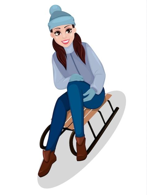 Bela mulher sentada no trenó Vetor Premium