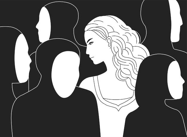 Bela mulher triste de cabelos compridos, rodeada por silhuetas negras de pessoas sem rostos. Vetor Premium