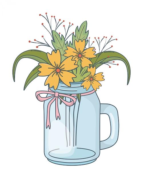 Bela natureza flores dos desenhos animados Vetor Premium
