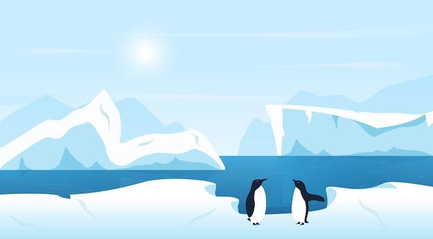 Bela paisagem ártica ou antártica com icebergs e pinguins Vetor Premium