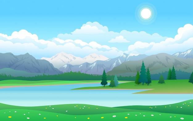 Bela paisagem com lago, floresta e montanhas Vetor Premium