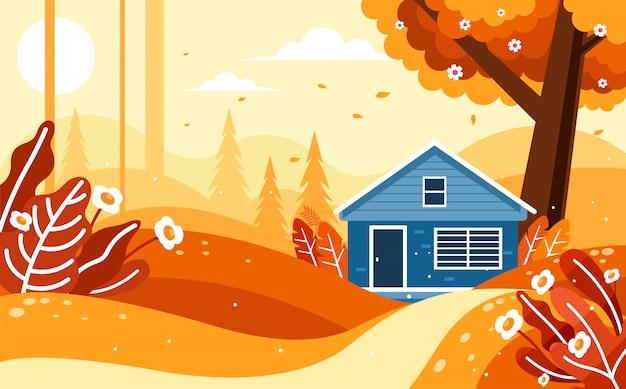 Bela paisagem de outono com uma casa na floresta Vetor Premium