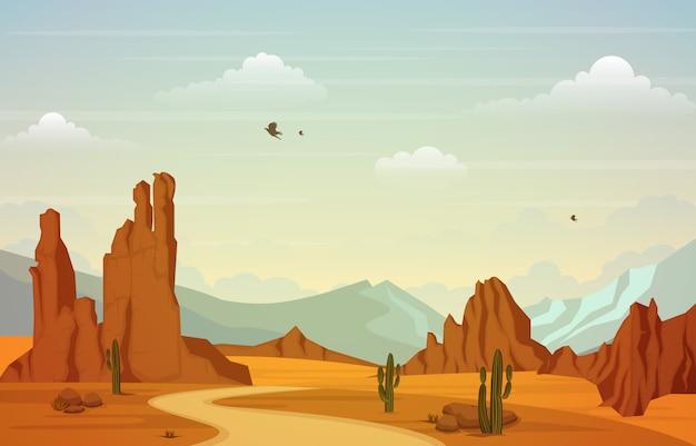 Bela paisagem do deserto ocidental com ilustração de sky rock cliff mountain Vetor Premium